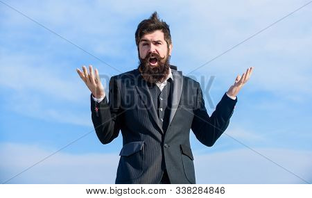 Unexpected Luck. Hopeful And Confident About Future. Man Bearded Optimistic Businessman Wear Formal