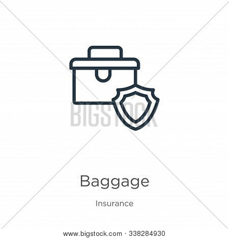 Baggage Icon. Thin Linear Baggage Outline Icon Isolated On White Background From Insurance Collectio