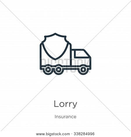 Lorry Icon. Thin Linear Lorry Outline Icon Isolated On White Background From Insurance Collection. L