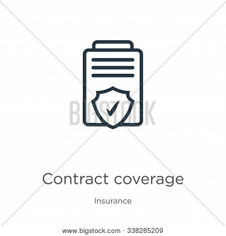 Contract Coverage Icon. Thin Linear Contract Coverage Outline Icon Isolated On White Background From