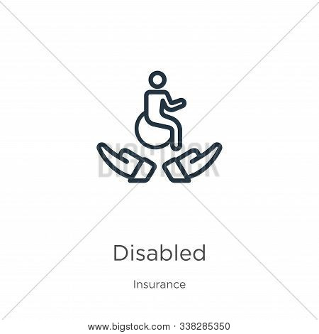 Disabled Icon. Thin Linear Disabled Outline Icon Isolated On White Background From Insurance Collect