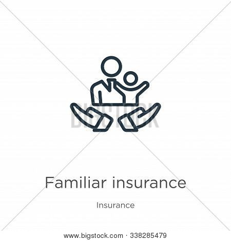 Familiar Insurance Icon. Thin Linear Familiar Insurance Outline Icon Isolated On White Background Fr