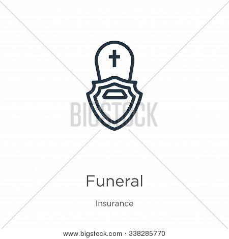 Funeral Icon. Thin Linear Funeral Outline Icon Isolated On White Background From Insurance Collectio