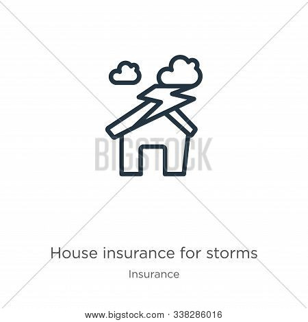House Insurance For Storms Icon. Thin Linear House Insurance For Storms Outline Icon Isolated On Whi
