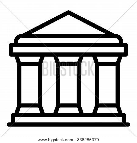 Justice Building Icon. Outline Justice Building Vector Icon For Web Design Isolated On White Backgro