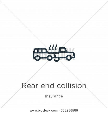 Rear End Collision Icon. Thin Linear Rear End Collision Outline Icon Isolated On White Background Fr