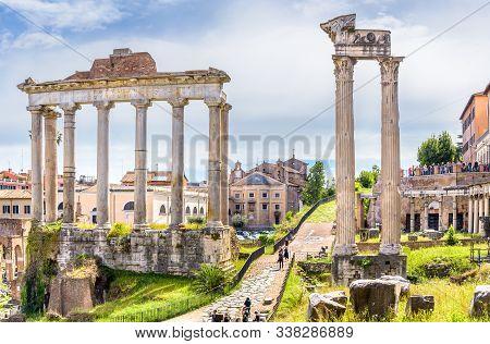 May, 13 2019. Rome, Italy. Amazing Landscape With Temple Of Saturn - Tempio Di Saturno - Roman Forum