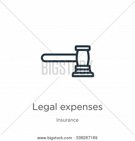 Legal Expenses Icon. Thin Linear Legal Expenses Outline Icon Isolated On White Background From Insur