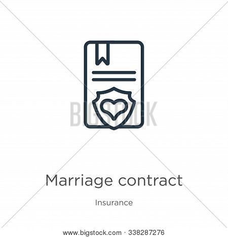 Marriage Contract Icon. Thin Linear Marriage Contract Outline Icon Isolated On White Background From