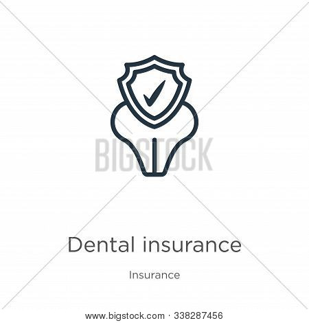 Dental Insurance Icon. Thin Linear Dental Insurance Outline Icon Isolated On White Background From I