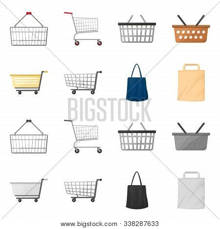 Vector Design Of Pushcart And Cart Icon. Set Of Pushcart And Market Stock Vector Illustration.