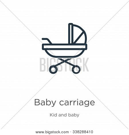 Baby Carriage Icon. Thin Linear Baby Carriage Outline Icon Isolated On White Background From Kid And