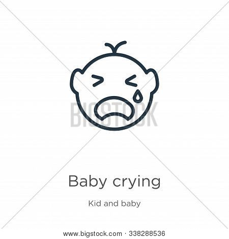 Baby Crying Icon. Thin Linear Baby Crying Outline Icon Isolated On White Background From Kid And Bab