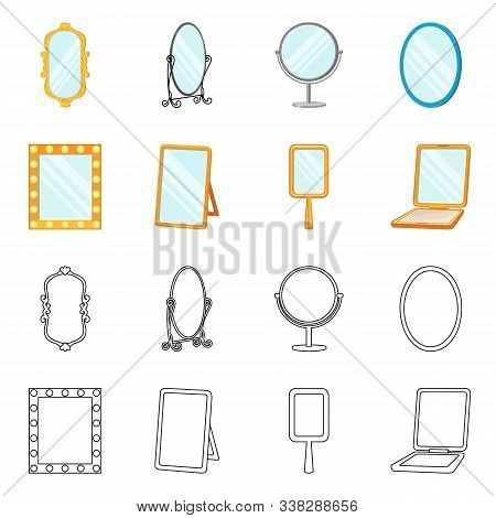 Vector Illustration Of Reflect And Piece Icon. Collection Of Reflect And Furniture Vector Icon For S
