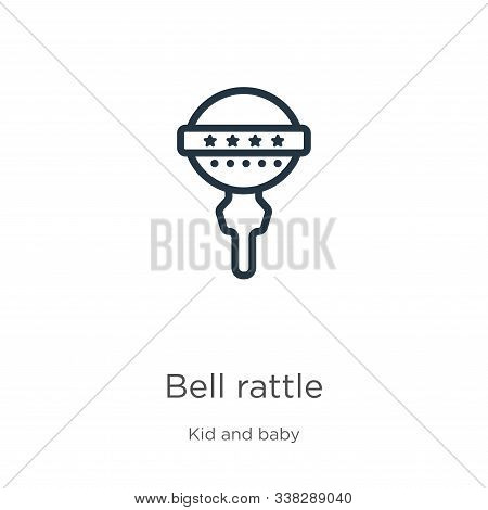 Bell Rattle Icon. Thin Linear Bell Rattle Outline Icon Isolated On White Background From Kid And Bab