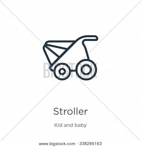 Stroller Icon. Thin Linear Stroller Outline Icon Isolated On White Background From Kid And Baby Coll