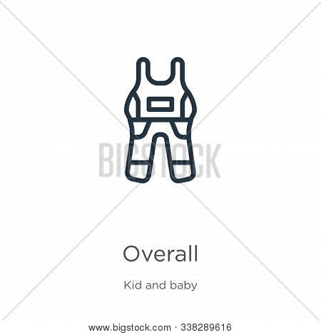 Overall Icon. Thin Linear Overall Outline Icon Isolated On White Background From Kid And Baby Collec
