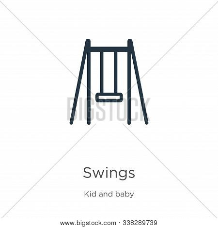Swings Icon. Thin Linear Swings Outline Icon Isolated On White Background From Kid And Baby Collecti