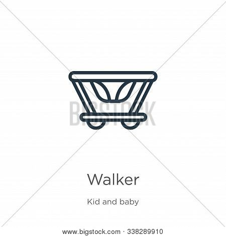 Walker Icon. Thin Linear Walker Outline Icon Isolated On White Background From Kid And Baby Collecti