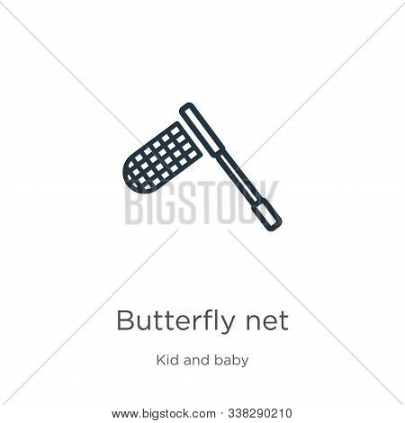 Butterfly Net Icon. Thin Linear Butterfly Net Outline Icon Isolated On White Background From Kids An