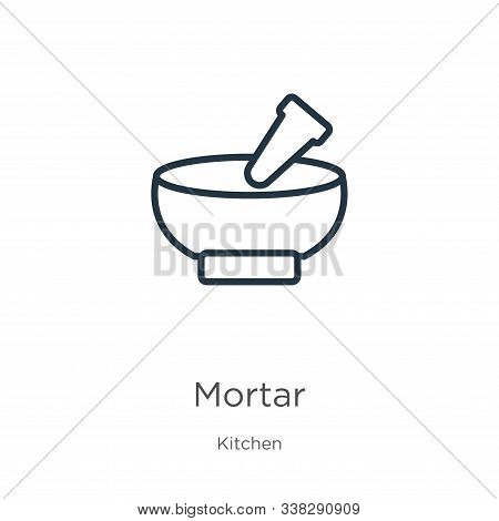 Mortar Icon. Thin Linear Mortar Outline Icon Isolated On White Background From Kitchen Collection. L