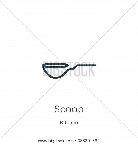 Scoop Icon. Thin Linear Scoop Outline Icon Isolated On White Background From Kitchen Collection. Lin