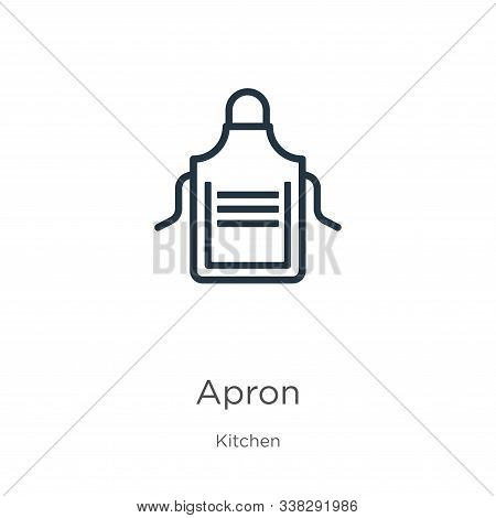 Apron Icon. Thin Linear Apron Outline Icon Isolated On White Background From Kitchen Collection. Lin
