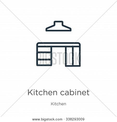 Kitchen Cabinet Icon. Thin Linear Kitchen Cabinet Outline Icon Isolated On White Background From Kit