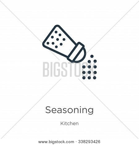 Seasoning Icon. Thin Linear Seasoning Outline Icon Isolated On White Background From Kitchen Collect