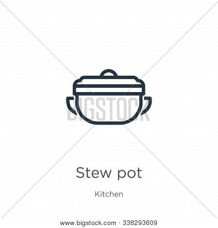 Stew Pot Icon. Thin Linear Stew Pot Outline Icon Isolated On White Background From Kitchen Collectio