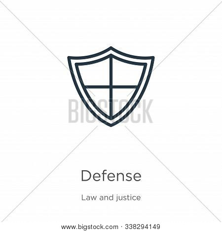 Defense Icon. Thin Linear Defense Outline Icon Isolated On White Background From Law And Justice Col