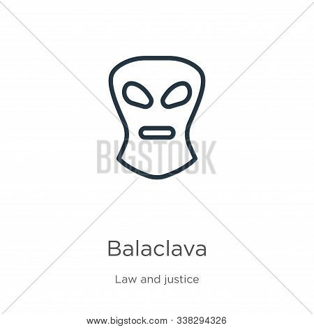 Balaclava Icon. Thin Linear Balaclava Outline Icon Isolated On White Background From Law And Justice