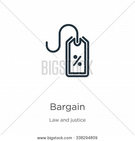 Bargain Icon. Thin Linear Bargain Outline Icon Isolated On White Background From Law And Justice Col