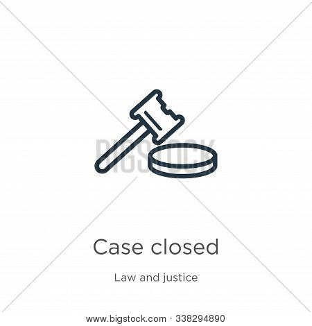 Case Closed Icon. Thin Linear Case Closed Outline Icon Isolated On White Background From Law And Jus