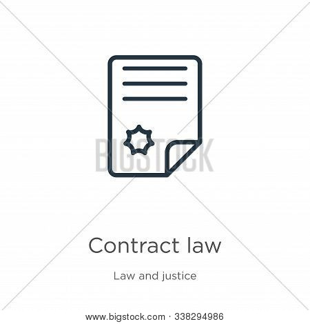 Contract Law Icon. Thin Linear Contract Law Outline Icon Isolated On White Background From Law And J