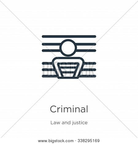 Criminal Icon. Thin Linear Criminal Outline Icon Isolated On White Background From Law And Justice C