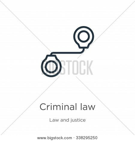 Criminal Law Icon. Thin Linear Criminal Law Outline Icon Isolated On White Background From Law And J