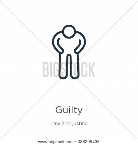 Guilty Icon. Thin Linear Guilty Outline Icon Isolated On White Background From Law And Justice Colle