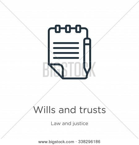 Wills And Trusts Icon. Thin Linear Wills And Trusts Outline Icon Isolated On White Background From L