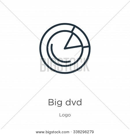 Big Dvd Icon. Thin Linear Big Dvd Outline Icon Isolated On White Background From Logo Collection. Li