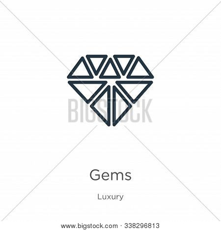 Gems Icon. Thin Linear Gems Outline Icon Isolated On White Background From Luxury Collection. Line V