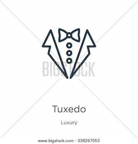 Tuxedo Icon. Thin Linear Tuxedo Outline Icon Isolated On White Background From Luxury Collection. Li