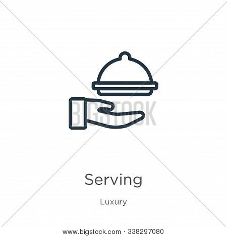 Serving Icon. Thin Linear Serving Outline Icon Isolated On White Background From Luxury Collection.