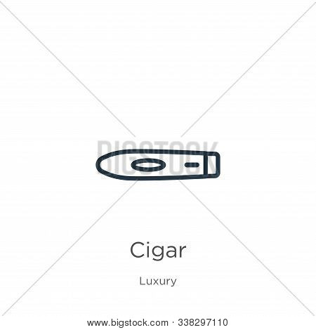 Cigar Icon. Thin Linear Cigar Outline Icon Isolated On White Background From Luxury Collection. Line