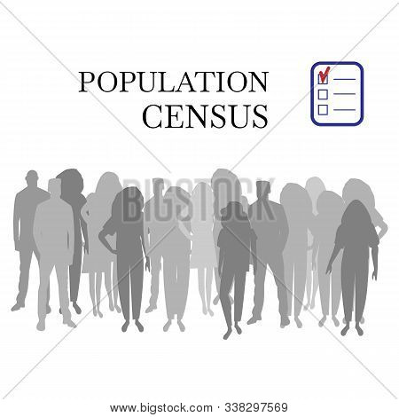 Electronic Population Census A Diverse Silhouettes Group Of People. Isolated On White Background. Ve