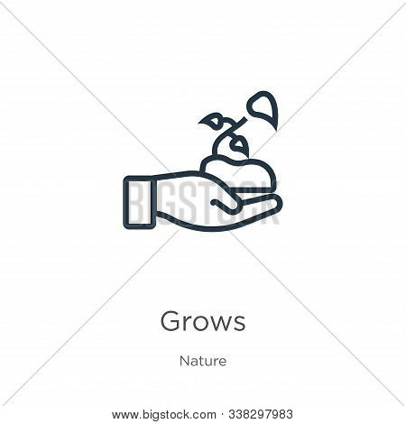 Grows Icon. Thin Linear Grows Outline Icon Isolated On White Background From Nature Collection. Line