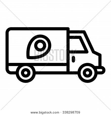 Truck Relocation Icon. Outline Truck Relocation Vector Icon For Web Design Isolated On White Backgro