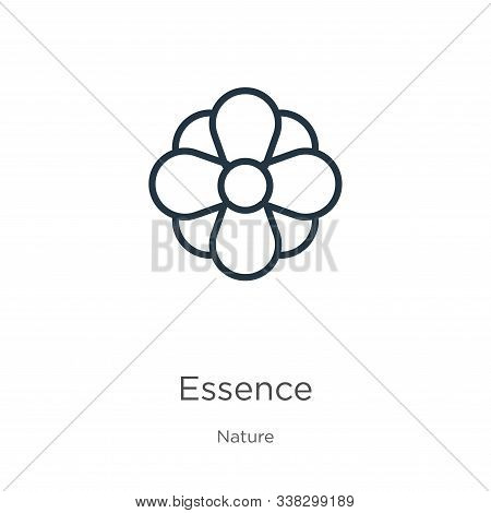 Essence Icon. Thin Linear Essence Outline Icon Isolated On White Background From Nature Collection.
