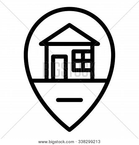 House Location Icon. Outline House Location Vector Icon For Web Design Isolated On White Background