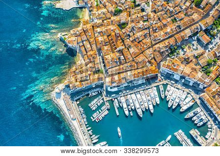 View Of The City Of Saint-tropez, Provence, Cote Dazur, A Popular Destination For Travel In Europe